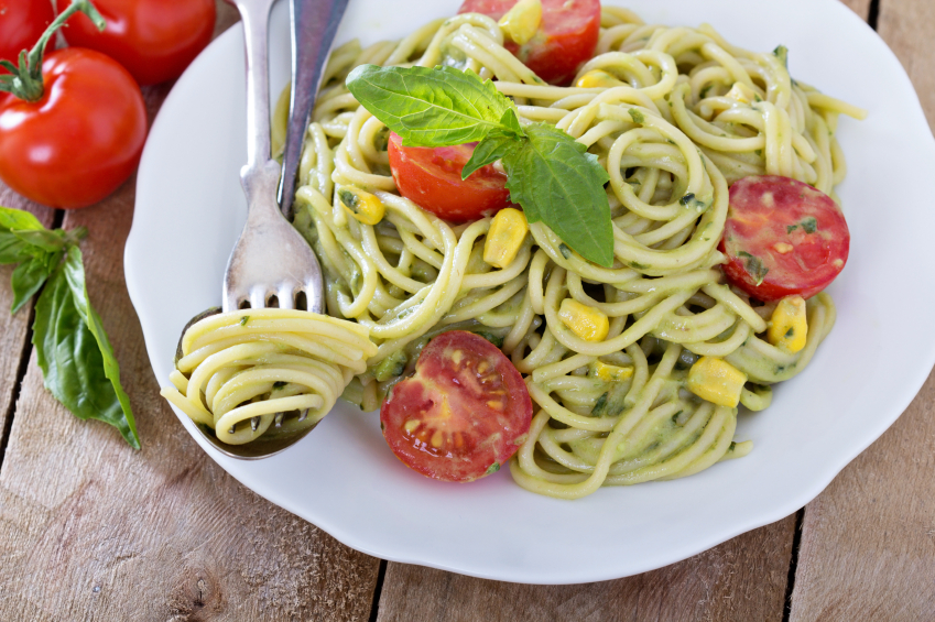 avocado pasta, corn, tomatoes