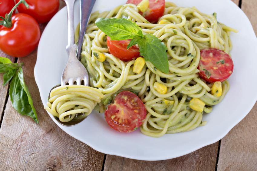 avocado pasta, corn, tomatoes