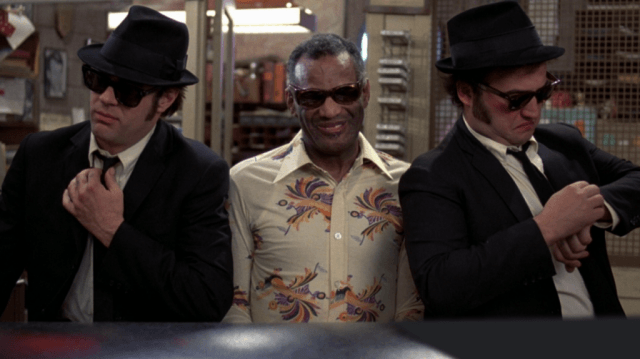 Dan Ackroyd, Ray Charles and Jim Belushi in 'The Blues Brothers.'