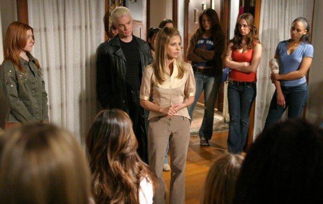 Alyson Hannigan, James Marsters and Sarah Michelle Gellar in 'Buffy the Vampire Slayer.'