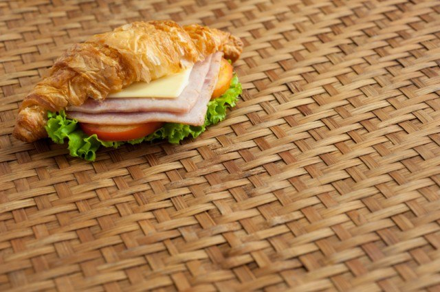 croissant, ham and cheese sandwich