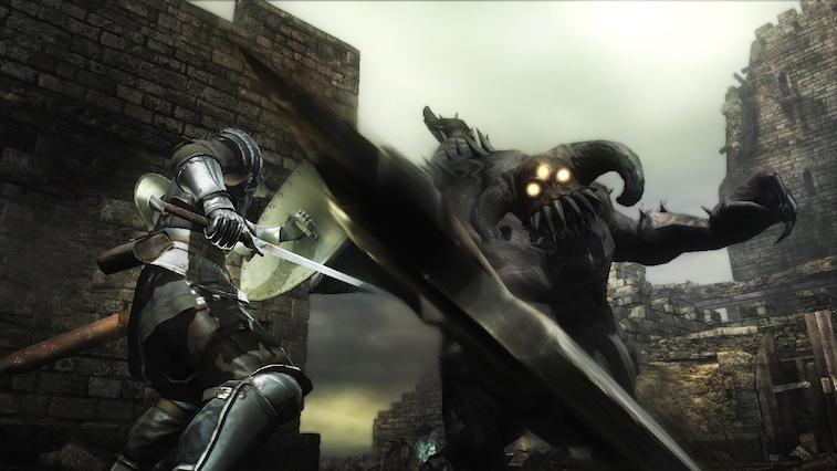 Fighting a boss in Demon's Souls