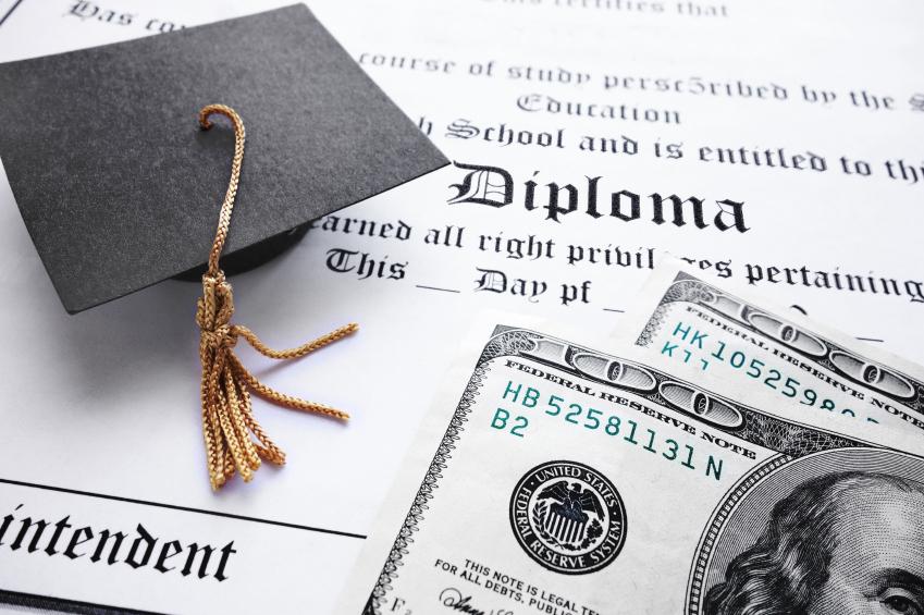 graduation cap, diploma and money