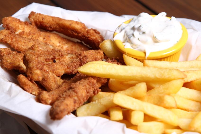chicken tenders, fries