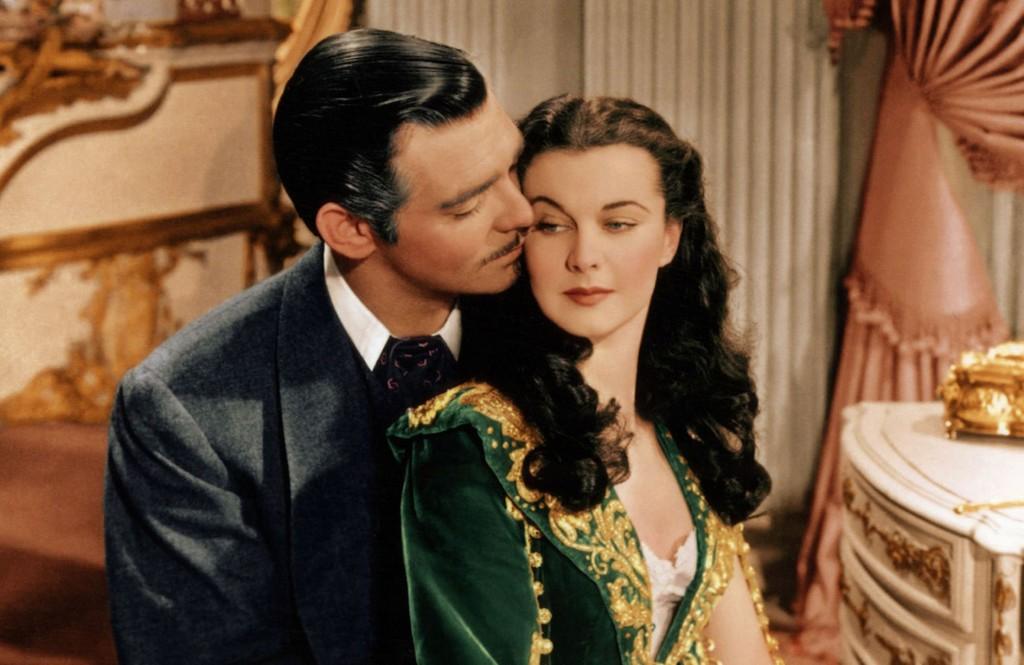 Rhett Butler holding Scarlett O'Hara in Gone With the Wind.