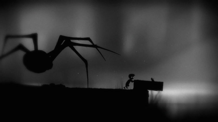A boy being chased by a spider in Limbo