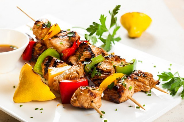 chicken and vegetable kebabs