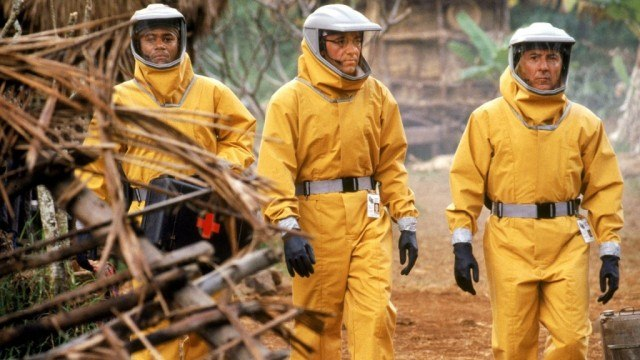 Cuba Gooding Jr., Kevin Spacey and Dustin Hoffman in 'Outbreak.'