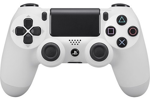 A white PlayStation 4 controller.
