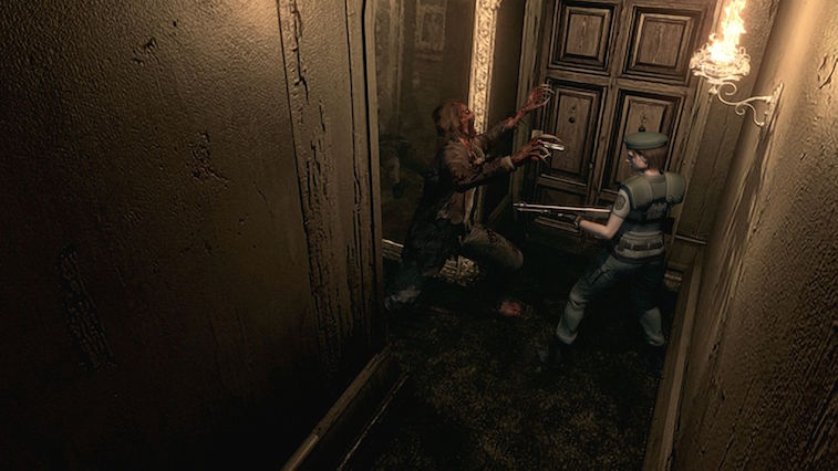 Zombies attack in Resident Evil HD Remaster