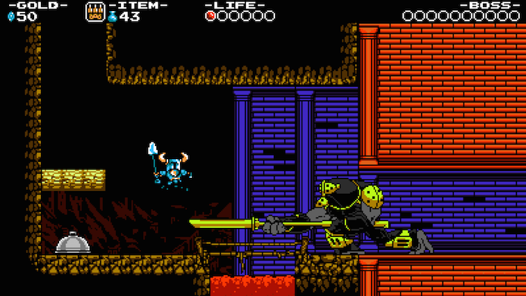 A retro-style knight fights a big boss.