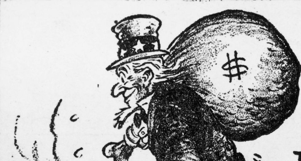 Uncle Sam heads off laden with American tax dollars in a 1949 political cartoon