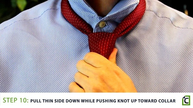Step 10: pull thin side down while pushing knot up toward collar