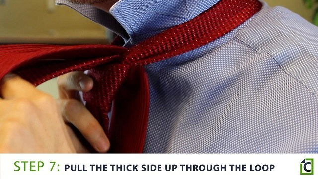 Step 7: pull the thick side up through the loop