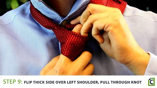 Step 9: flip the thick side over your left shoulder, pull through the knot