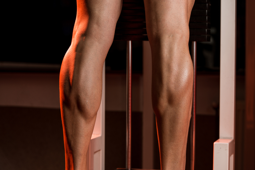 a shot of muscular calves