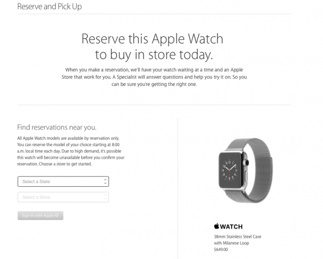 Apple Watch Reserve and Pick Up