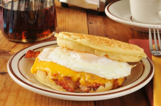 sandwich, waffle, egg, bacon, cheese
