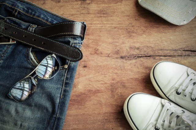 Blue jeans, hat and shoes