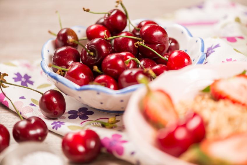 cherries, oatmeal