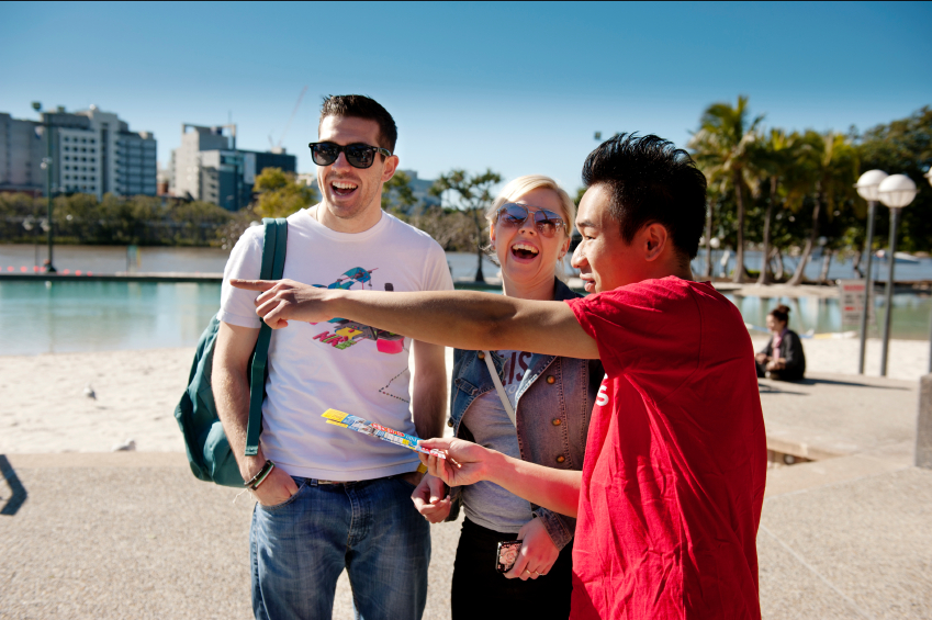 tourists and guide