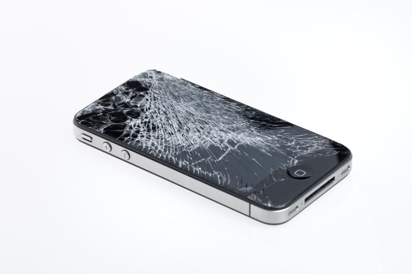 An old, broken iPhone