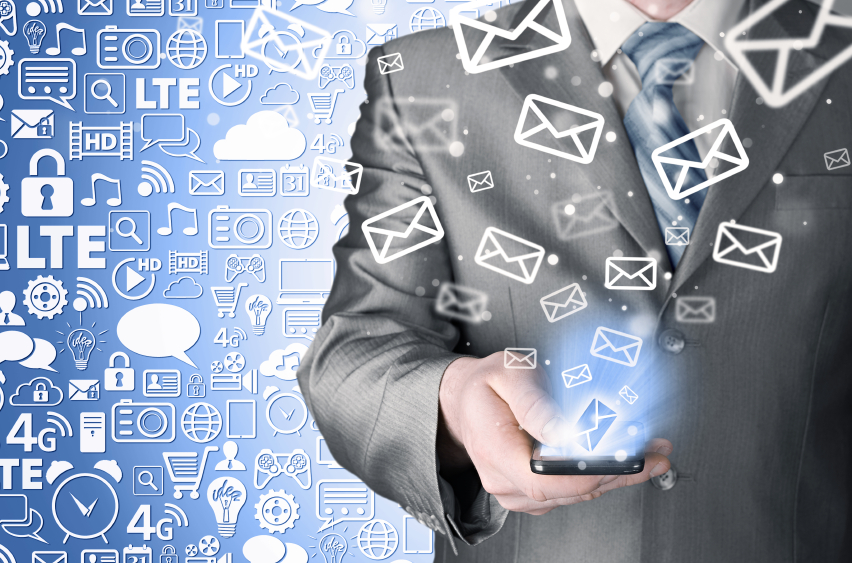A man with constant emails flooding his inbox