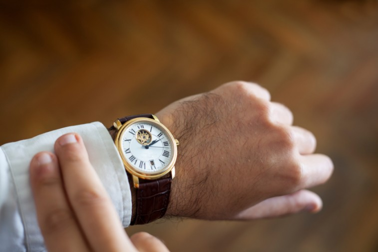 watch on man's wrist