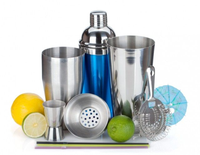Cocktail shaker, strainer, measuring cup