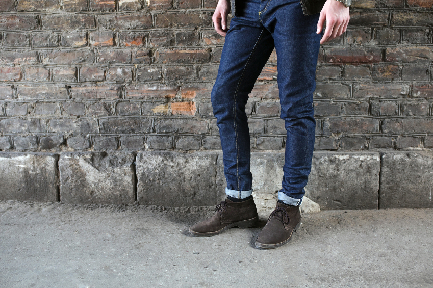 Man wearing blue jeans