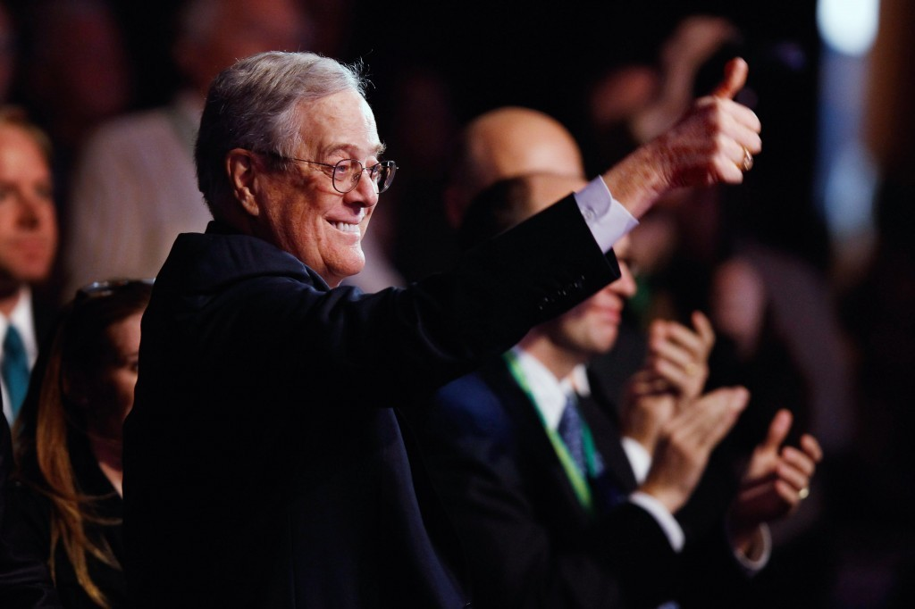 Shot of David Koch, CEO of Koch Industries, giving the thumbs-up to the crowd in 2015.