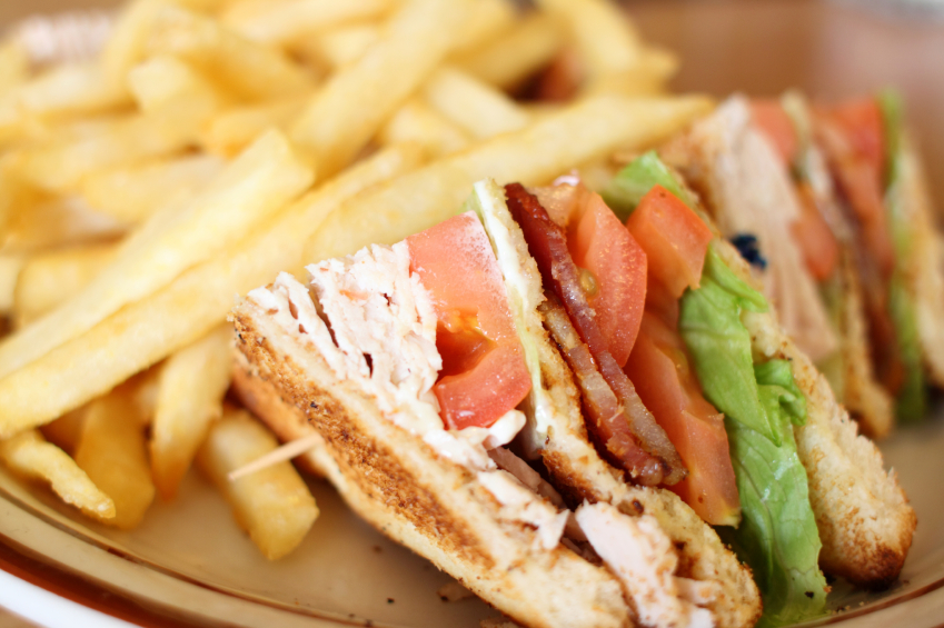 club sandwich with french fries