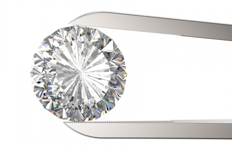 Diamond in tweezers