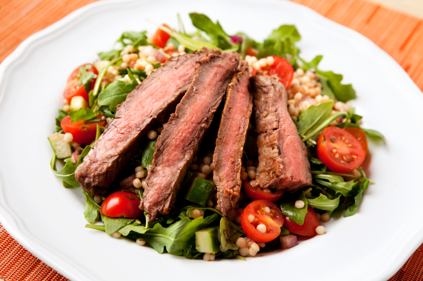 Flank steak salad with roasted corn salsa