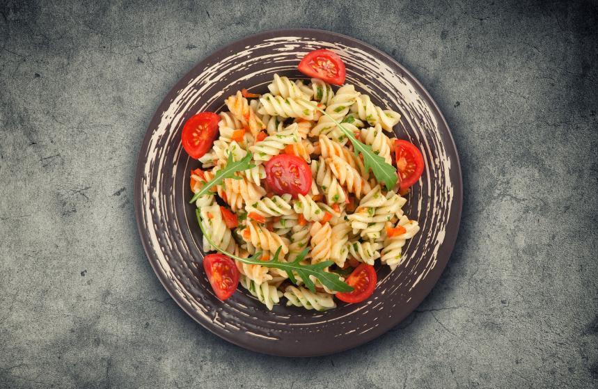fusili, pasta, tomatoes, arugula