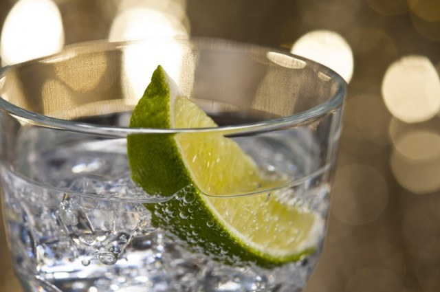 gin in a glass with lime slice