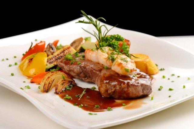 Grilled Steak and Prawns, shrimp