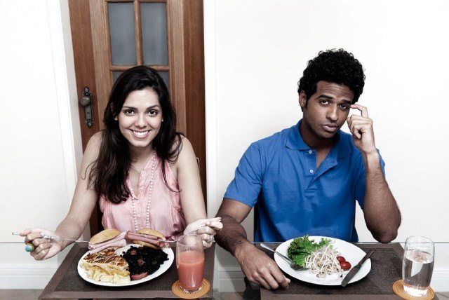 man on diet, woman indulging