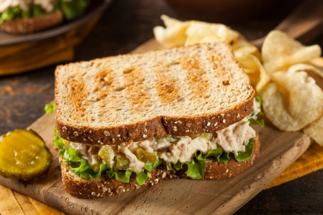 tuna salad on toasted bread