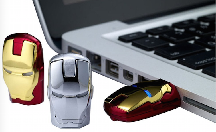 Iron Man flash drives in a laptop