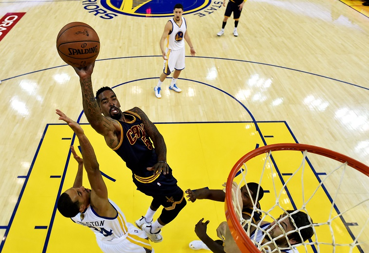 J.R. Smith takes a shot against the Golden State Warriors in Game 2