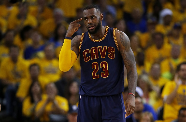 LeBron points at himself during Game 2 of the NBA Finals