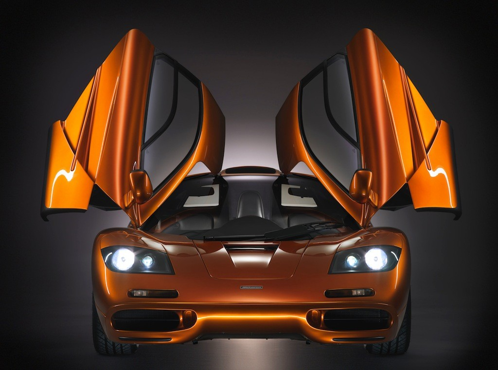 1993 McLaren F1  with its unique dihedral doors opened upwards.