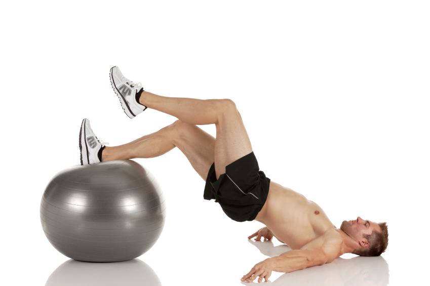 Man using stability ball