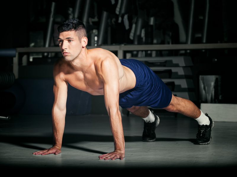 Man in starting plank position