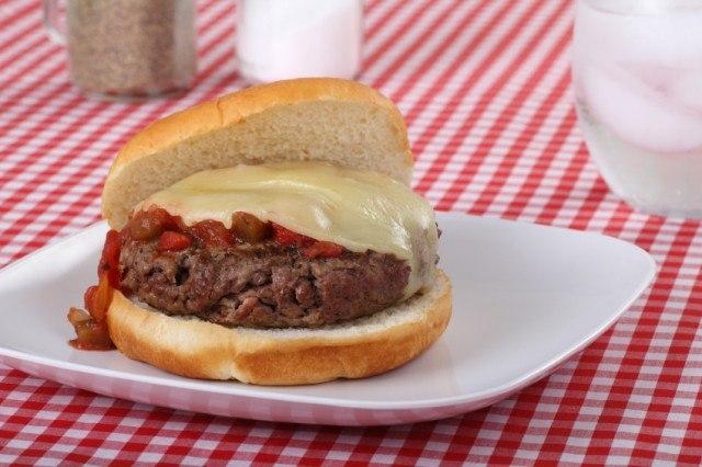 burger, salsa, cheese