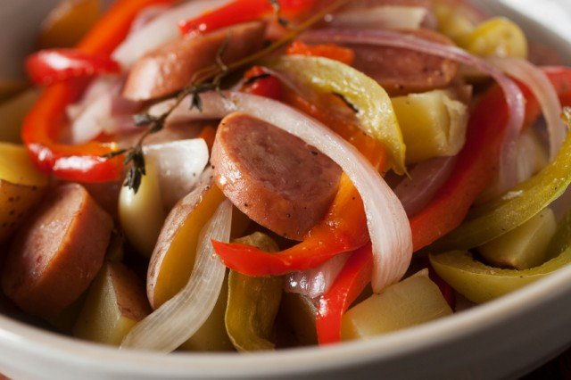 close-up of sausage and peppers