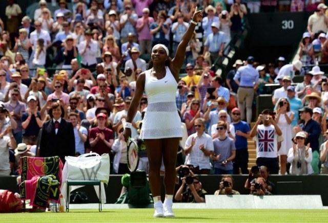 Serena Williams celebrates a win at Wimbledon.