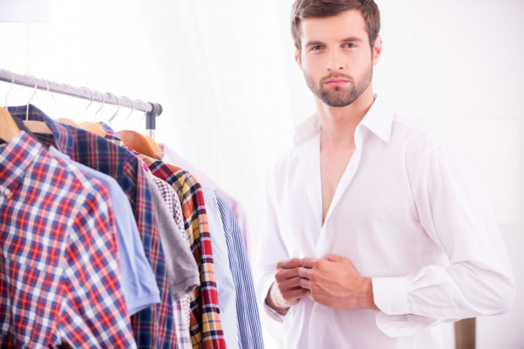 a man getting dressed