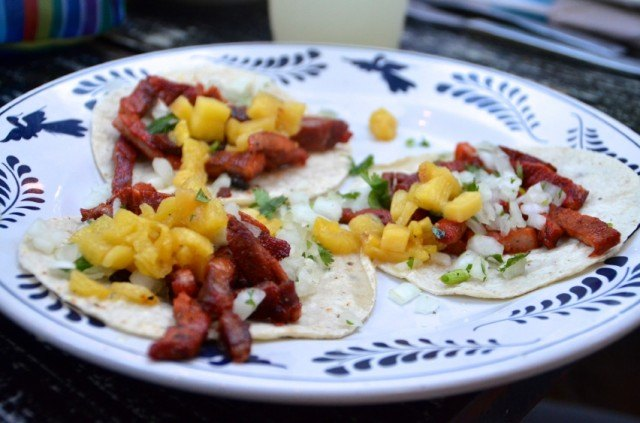 al pastor, tacos, pork, pineapple